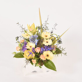 Blues and lemon arrangement $65-$120