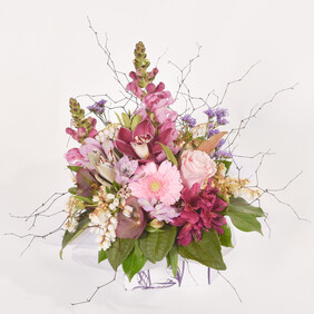 Mixed pinks boxed arrangement